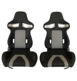 Καθίσματα Bucket GT-Sport Ύφασμα Μαύρο Γκρι Σετ 2 Τεμαχίων