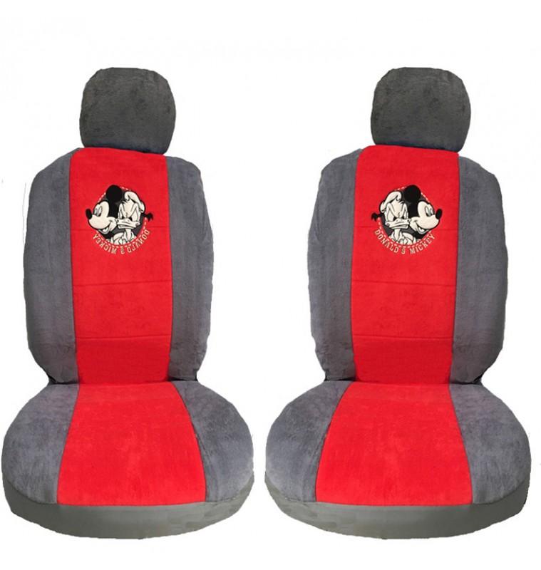 Καλύμματα Αυτοκινήτου Σετ Μπροστά-Πίσω Πετσετέ Donald & Mickey με φερμουάρ Γκρι/Κόκκινο 9913819