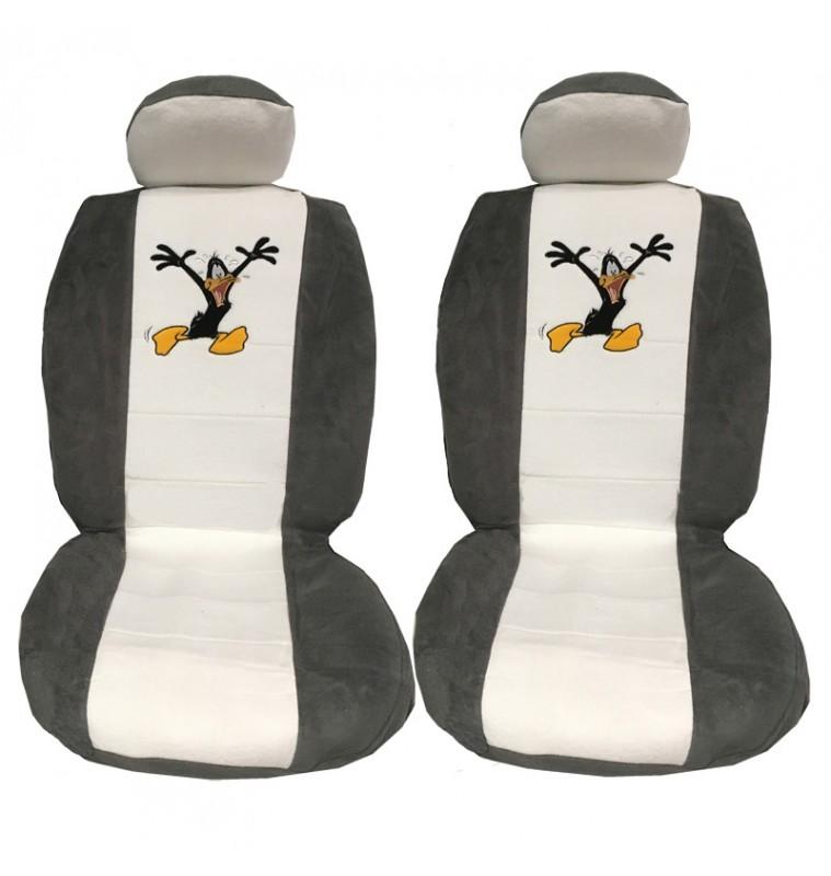 Ημικάλυμμα Μπροστινών Καθισμάτων 4 Τεμ Daffy Duck Άσπρο/Γκρι