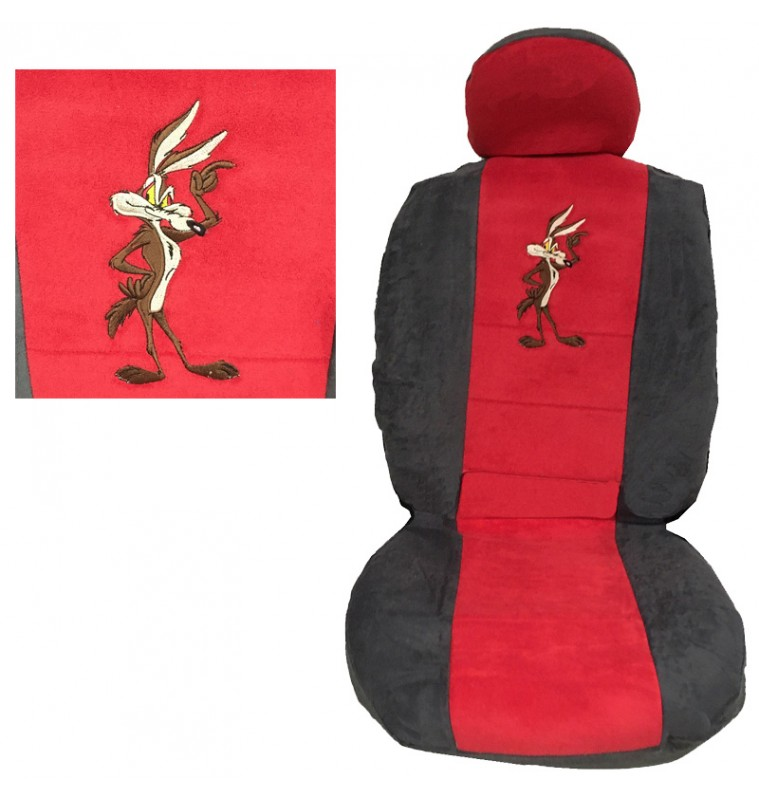Ημικάλυμμα Μπροστινών Καθισμάτων 4 Τεμ Wile E Coyote Πετσέτα Κόκκινο/Γκρι