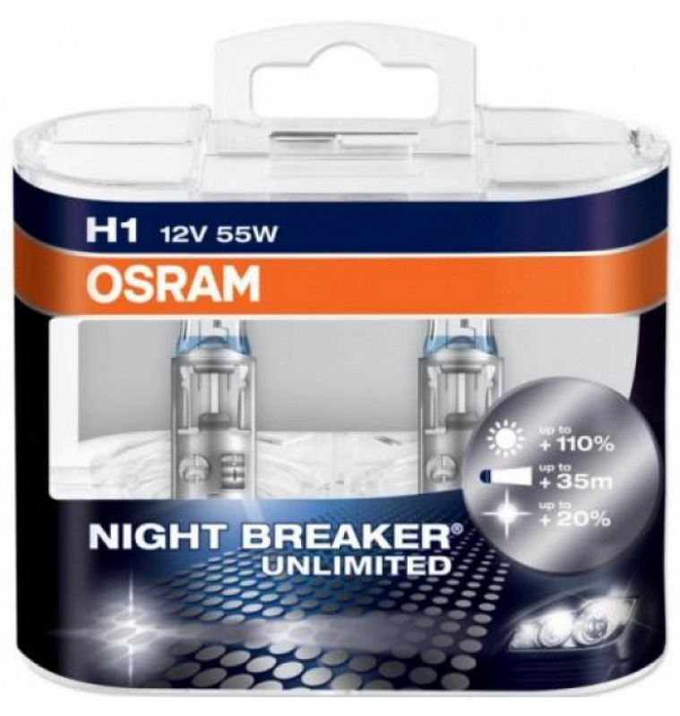 Λάμπες H1 12V 55W Osram Night Braker Unlimited 64150NBU