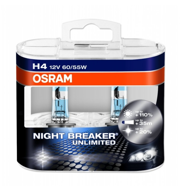Λάμπες H4 12V 60/55W Osram Night Braker Unlimited 64193NBU