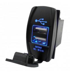 CarCommerce ΔΙΠΛΗ ΘΥΡΑ USB 12/24V - 5V - 3100mA ΜΕ ΚΑΠΑΚΙ ΣΕ ΠΛΑΙΣΙΟ ΔΙΑΚΟΠΤΗ