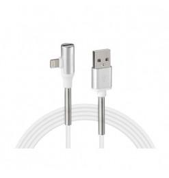 Lampa ΚΑΛΩΔΙΟ USB ΦΟΡΤΙΣΗΣ & ΑΝΤΑΠΤΟΡΑΣ ΑΚΟΥΣΤΙΚΩΝ APPLE (8 PIN) 90 ΜΟΙΡΩΝ IRON SILVER LINE (100 cm)