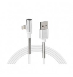 Lampa ΚΑΛΩΔΙΟ USB ΦΟΡΤΙΣΗΣ & ΑΝΤΑΠΤΟΡΑΣ ΑΚΟΥΣΤΙΚΩΝ APPLE (8 PIN) 90 ΜΟΙΡΩΝ IRON SILVER LINE (200 cm)