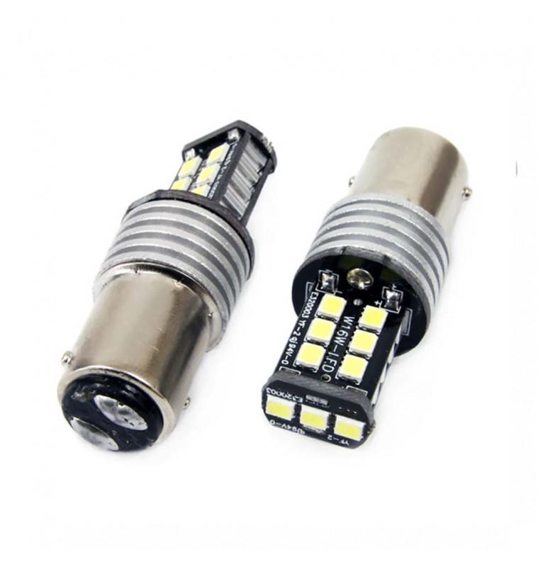 Amio P21W 1156 12-24V 7.5W 6.000K 800lm ΛΑΜΠΑ LED CANBUS 15SMD 2835 AMIO -2 ΤΕΜ.