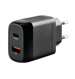 ΠΡΙΖΑ ΣΠΙΤΙΟΥ 100/230V ΜΕ 2 USB  TYPE A + TYPE C 20W HOME POWER ULTRA FAST CHARGER